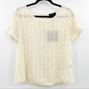 NWT Cynthia Rowley Cream Lace Gold Zipper Blouse